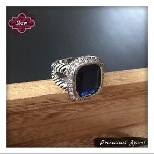 Double cable twist Dark Blue Navy gem Albion ring